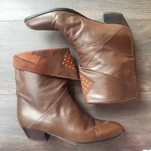 Vintage 80's Brown Leather Italian Made Booties